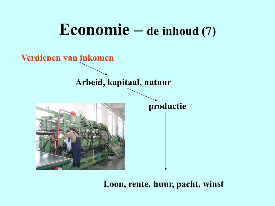 Economie – de inhoud (7) Verdienen van inkomen