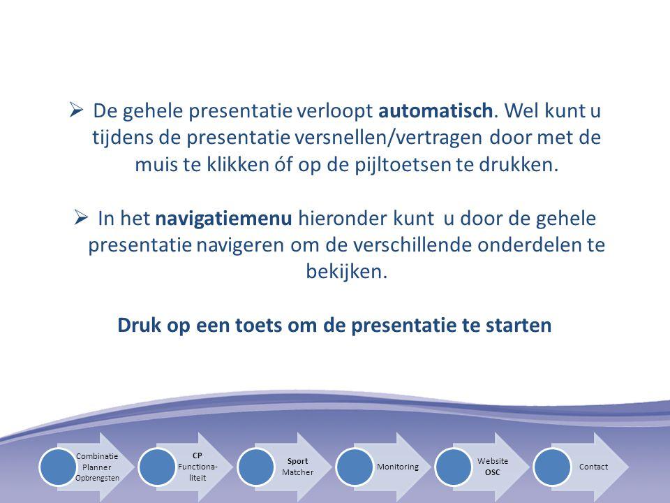 Druk op een toets om de presentatie te starten