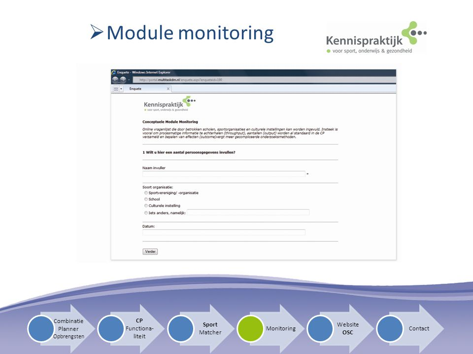 Module monitoring Combinatie Planner CP Functiona-liteit Sport Matcher