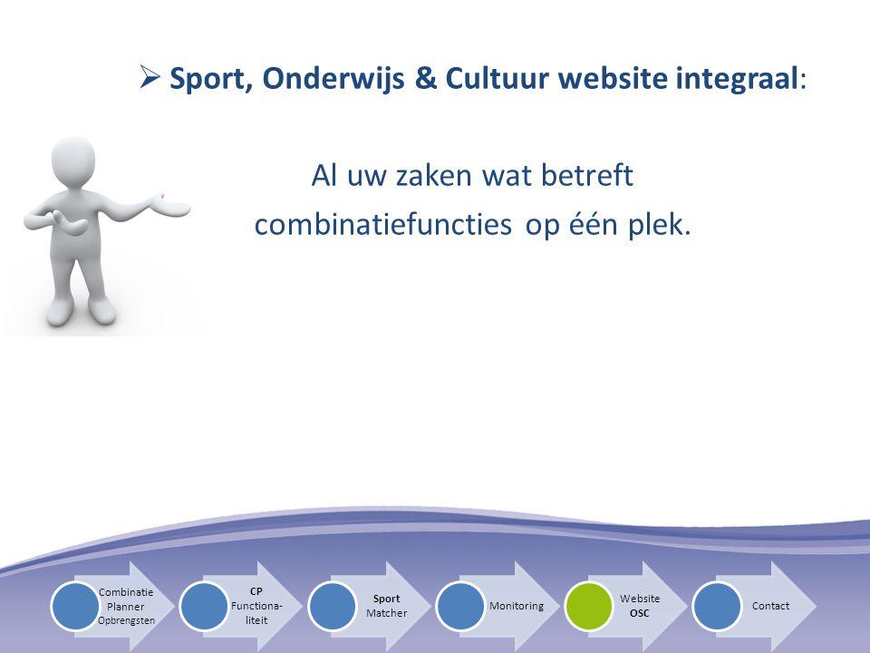 Sport, Onderwijs & Cultuur website integraal: Al uw zaken wat betreft
