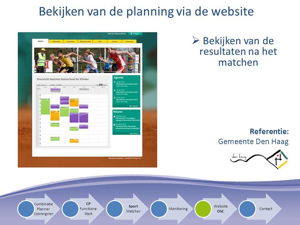 Bekijken van de planning via de website