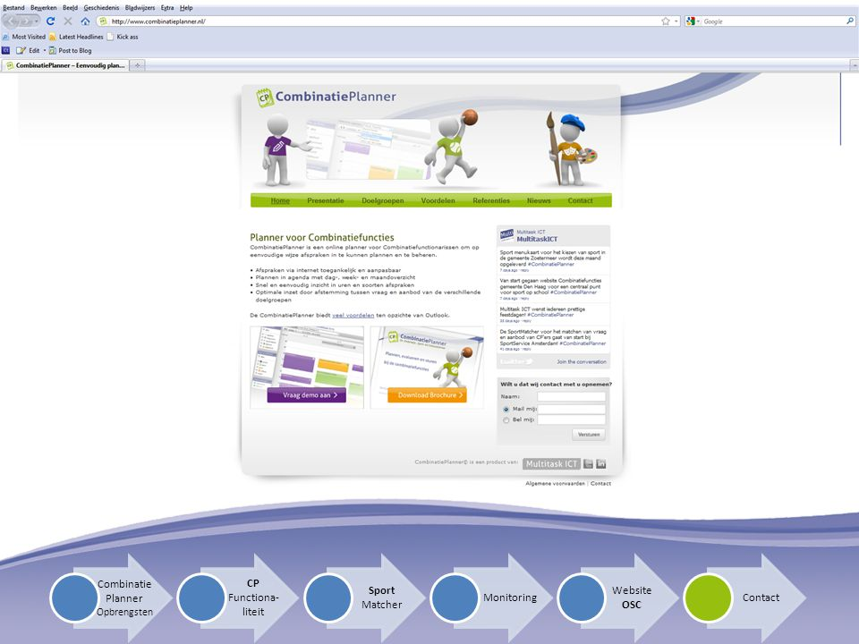 Combinatie Planner CP Functiona-liteit Sport Matcher Website OSC