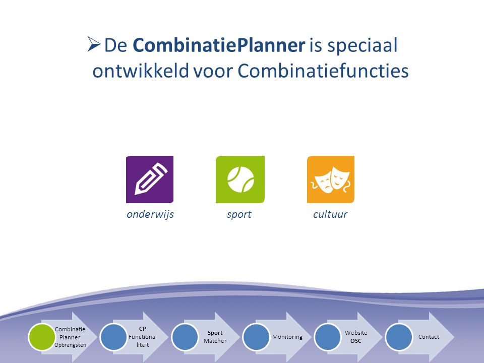 De CombinatiePlanner is speciaal ontwikkeld voor Combinatiefuncties