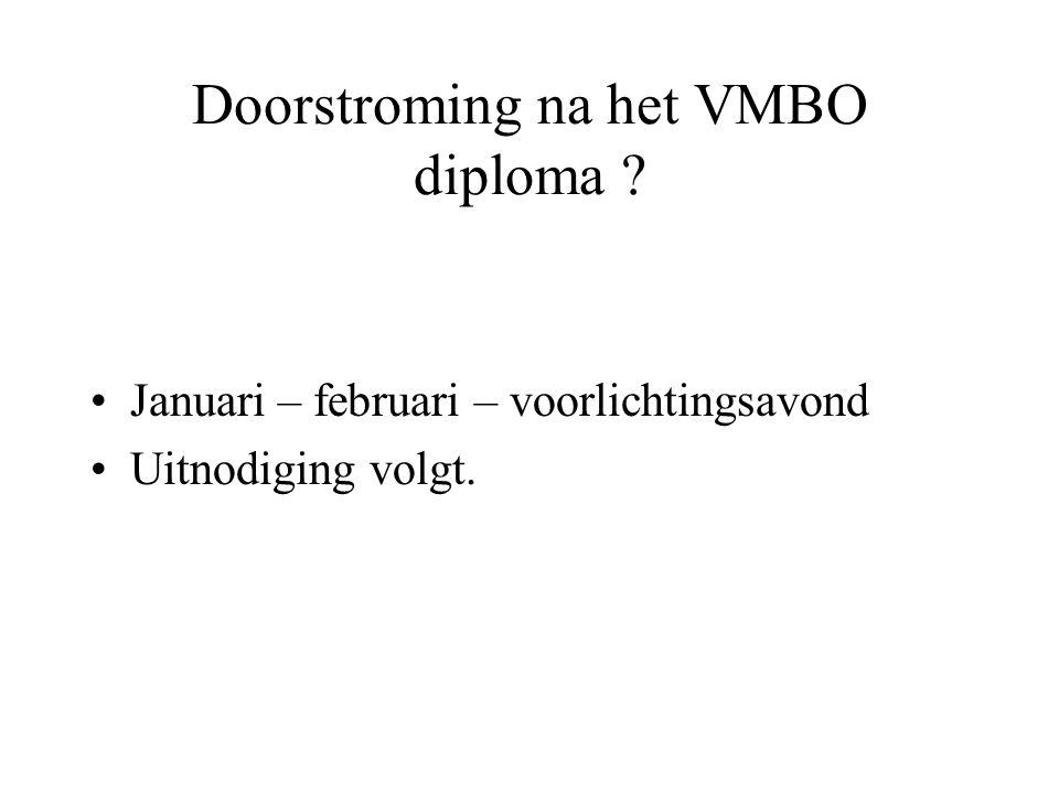 Doorstroming na het VMBO diploma