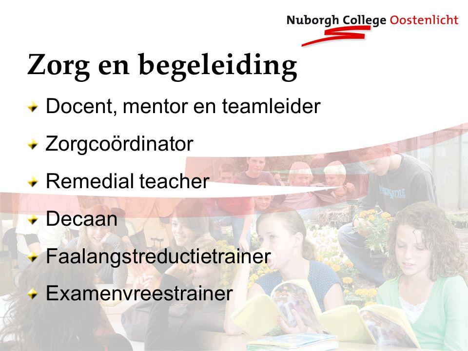 Zorg en begeleiding Docent, mentor en teamleider Zorgcoördinator