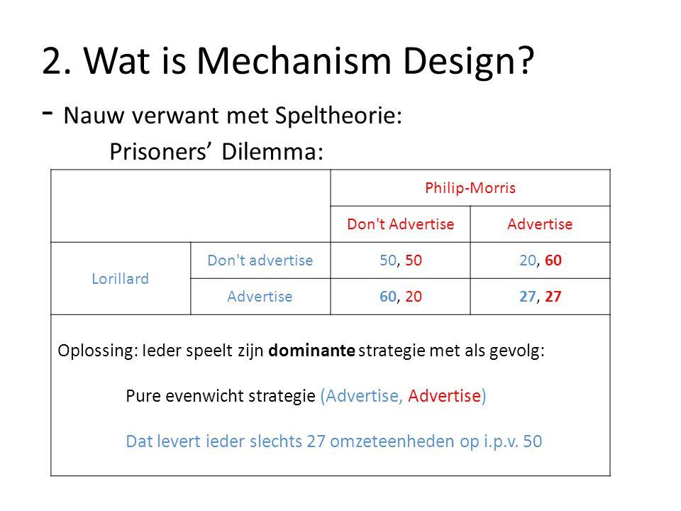 2. Wat is Mechanism Design. - Nauw verwant met Speltheorie: