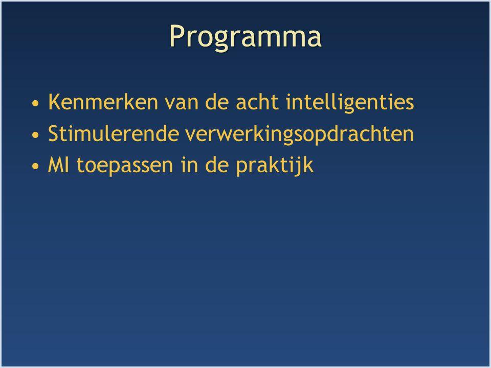 Programma Kenmerken van de acht intelligenties