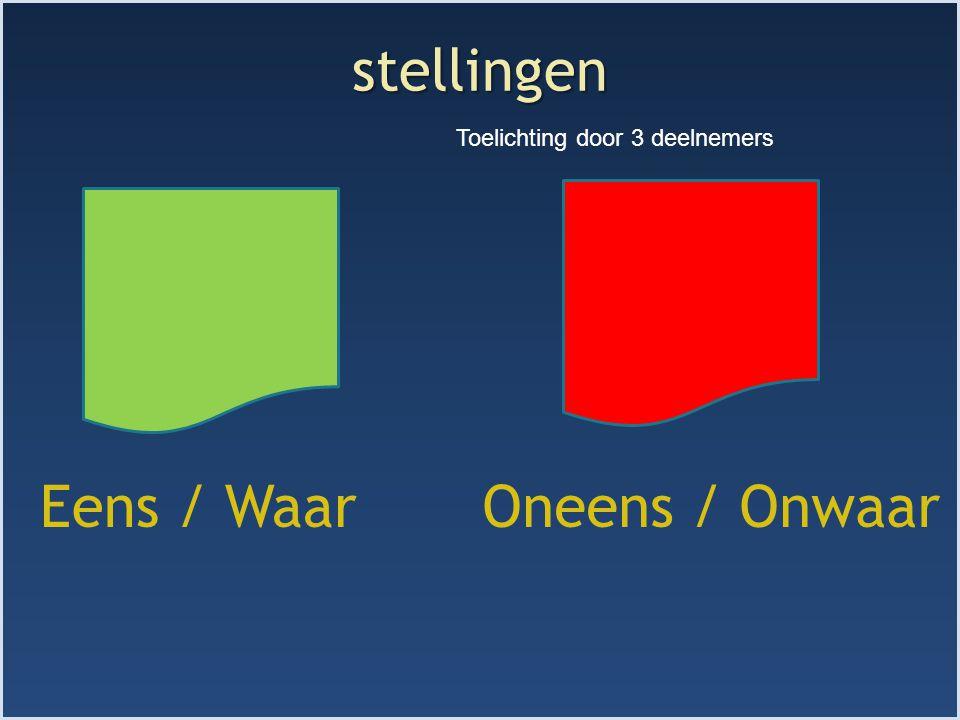 stellingen Toelichting door 3 deelnemers Eens / Waar Oneens / Onwaar