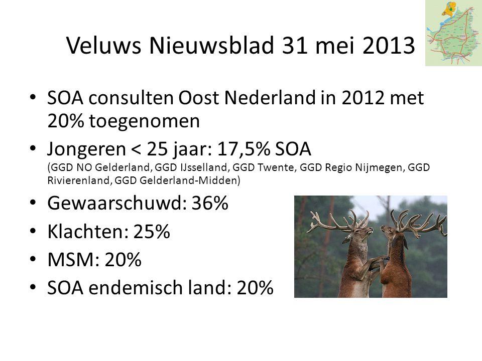Veluws Nieuwsblad 31 mei 2013 SOA consulten Oost Nederland in 2012 met 20% toegenomen.