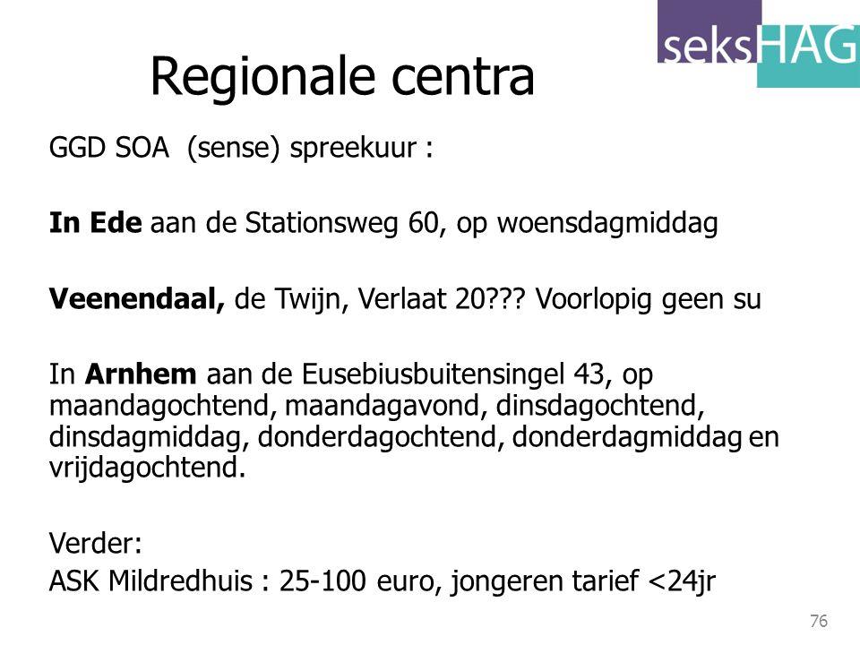 Regionale centra GGD SOA (sense) spreekuur :