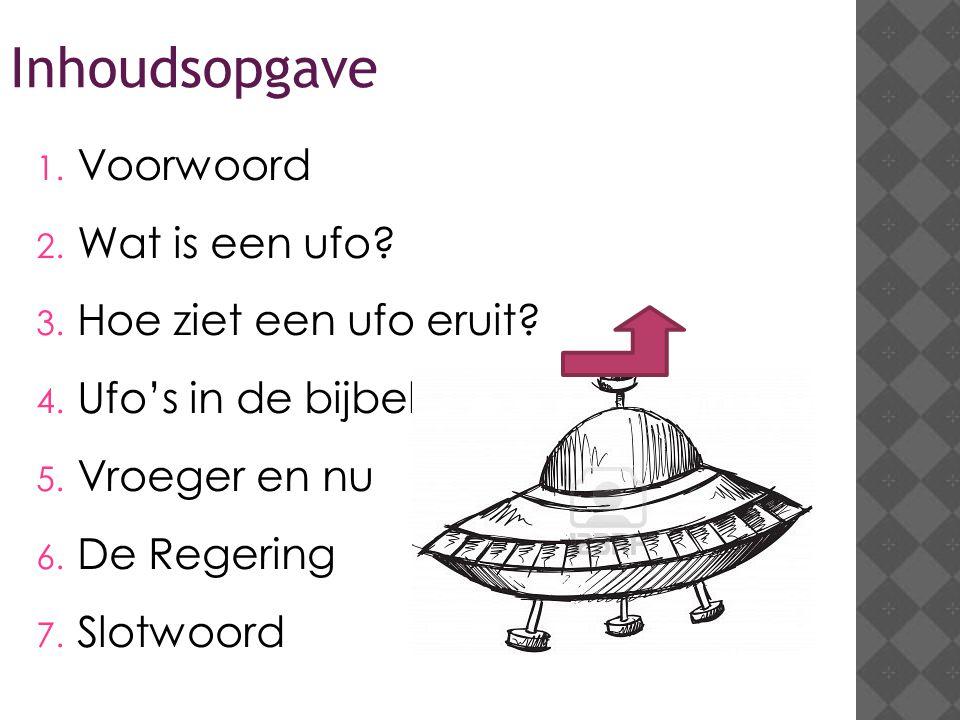 Inhoudsopgave Voorwoord Wat is een ufo Hoe ziet een ufo eruit