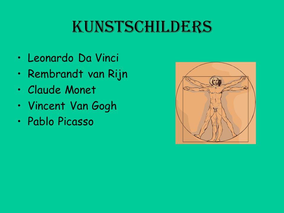 kunstschilders Leonardo Da Vinci Rembrandt van Rijn Claude Monet