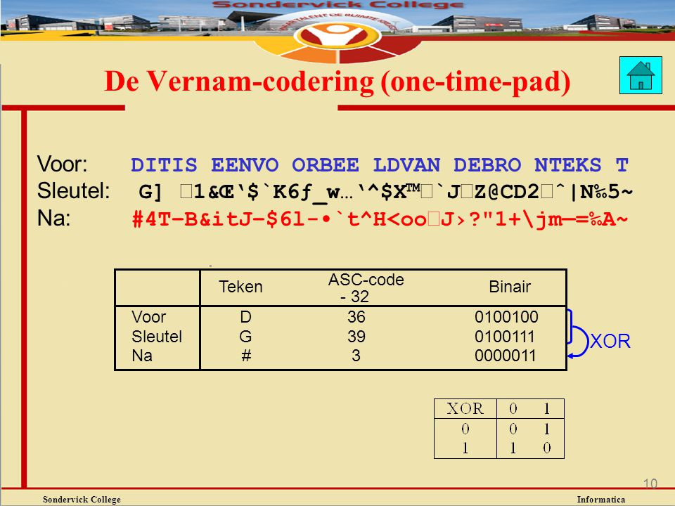 De Vernam-codering (one-time-pad)