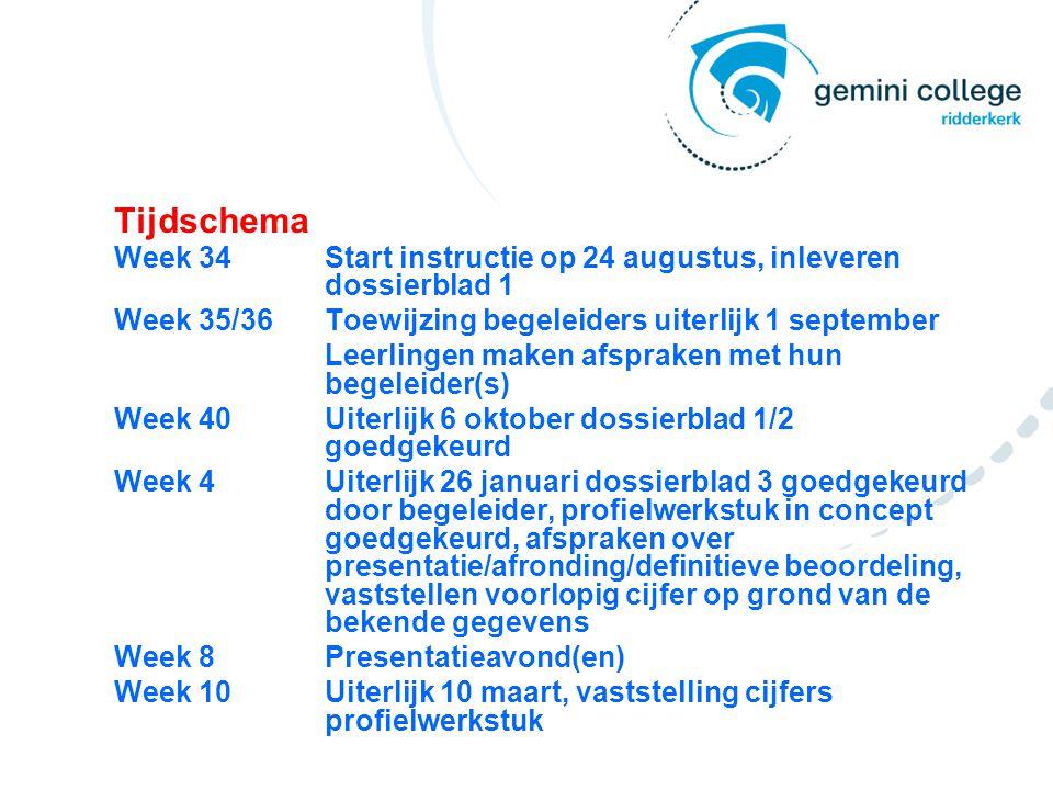 Tijdschema Week 34 Start instructie op 24 augustus, inleveren dossierblad 1. Week 35/36 Toewijzing begeleiders uiterlijk 1 september.