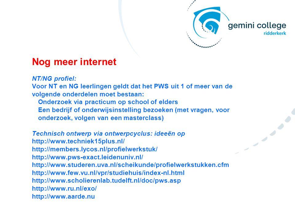 Nog meer internet NT/NG profiel: