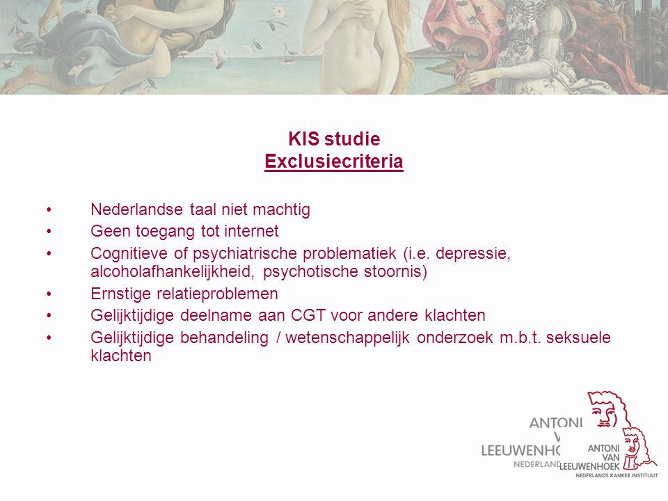 KIS studie Exclusiecriteria