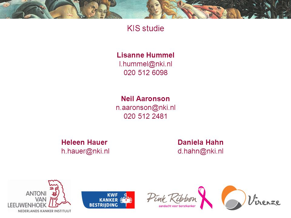 KIS studie Lisanne Hummel l.hummel@nki.nl 020 512 6098