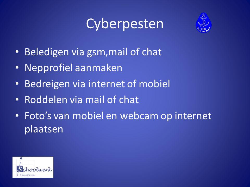 Cyberpesten Beledigen via gsm,mail of chat Nepprofiel aanmaken