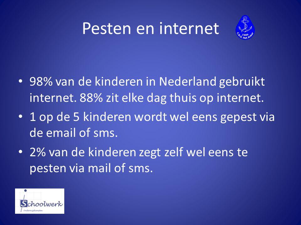 Pesten en internet 98% van de kinderen in Nederland gebruikt internet. 88% zit elke dag thuis op internet.