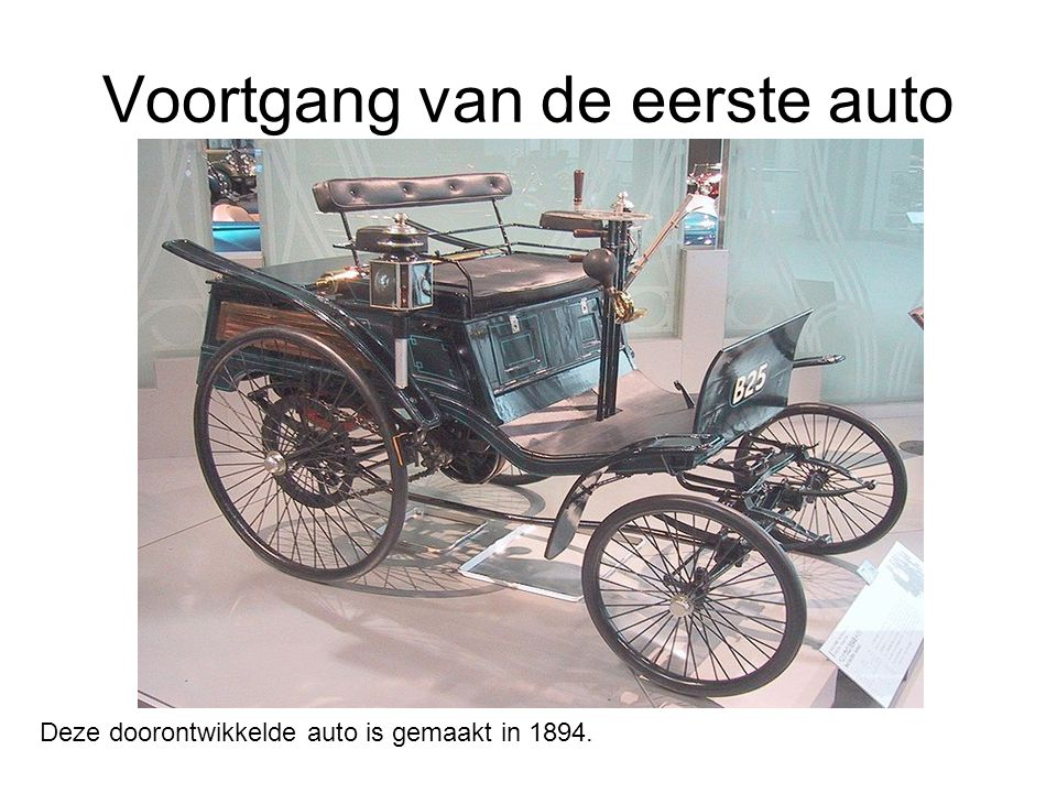 Voortgang van de eerste auto