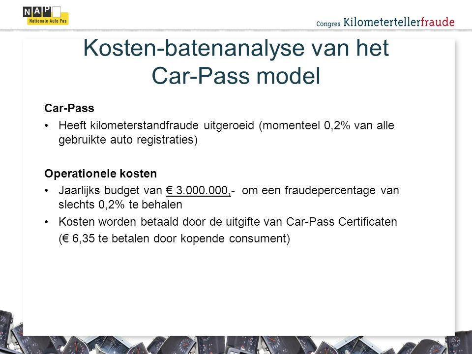 Kosten-batenanalyse van het Car-Pass model