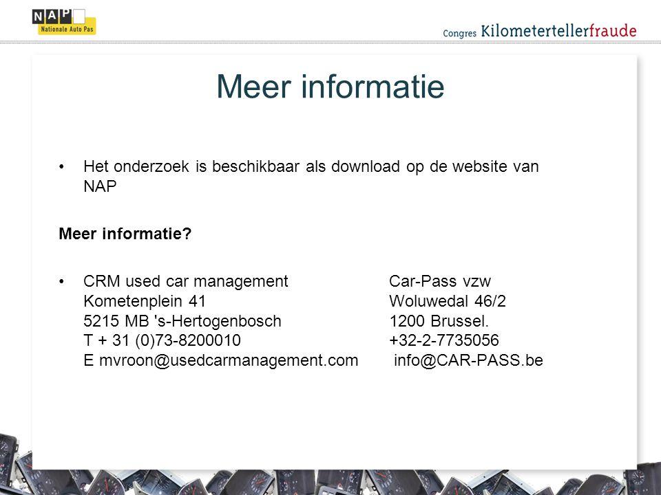Meer informatie Het onderzoek is beschikbaar als download op de website van NAP. Meer informatie