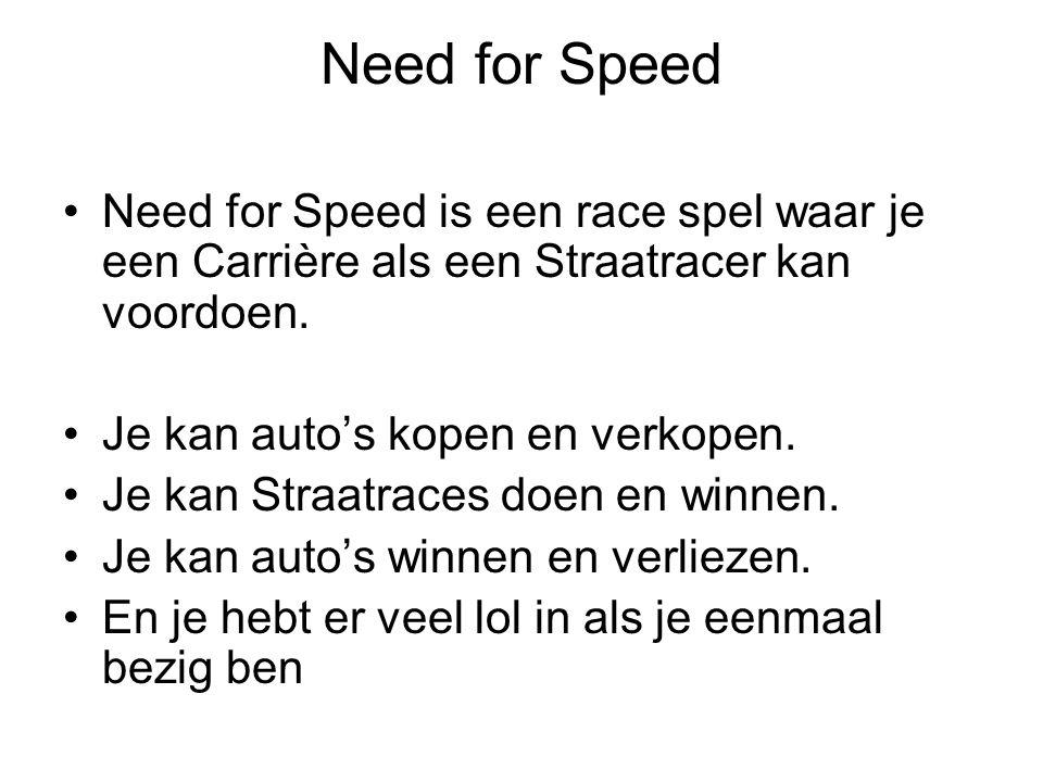 Need for Speed Need for Speed is een race spel waar je een Carrière als een Straatracer kan voordoen.