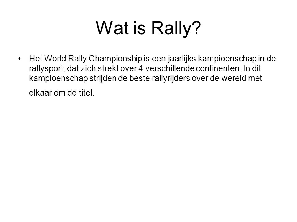 Wat is Rally