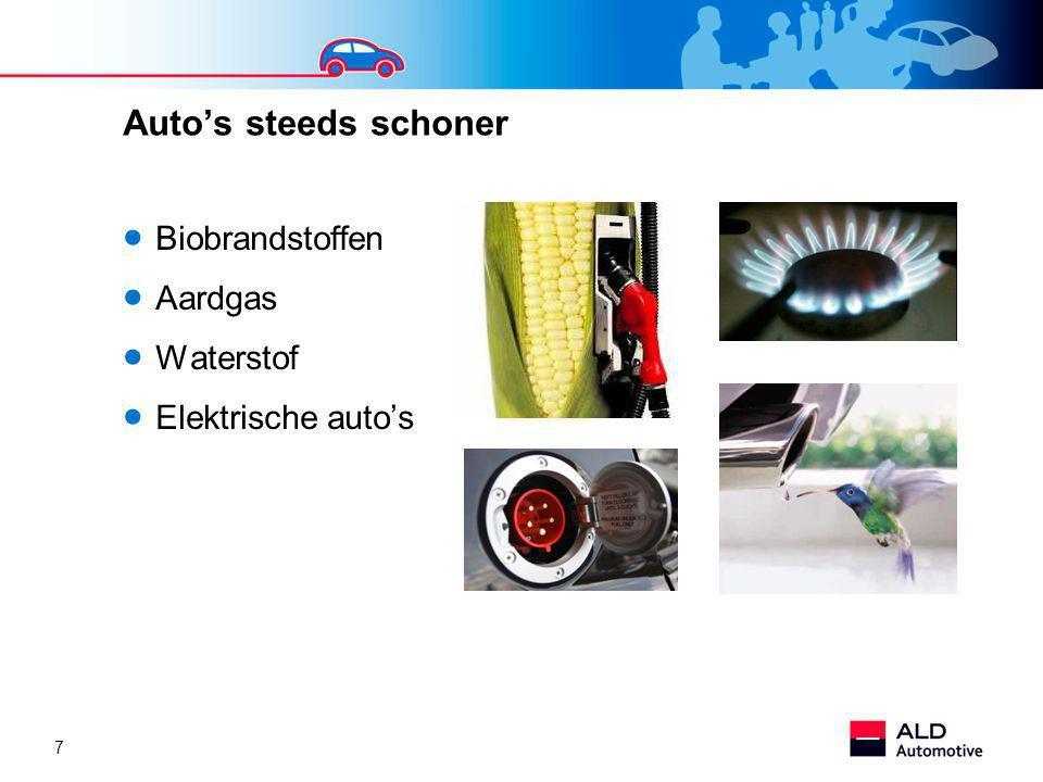 Auto's steeds schoner Biobrandstoffen Aardgas Waterstof