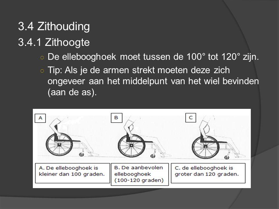 3.4 Zithouding 3.4.1 Zithoogte. De ellebooghoek moet tussen de 100° tot 120° zijn.