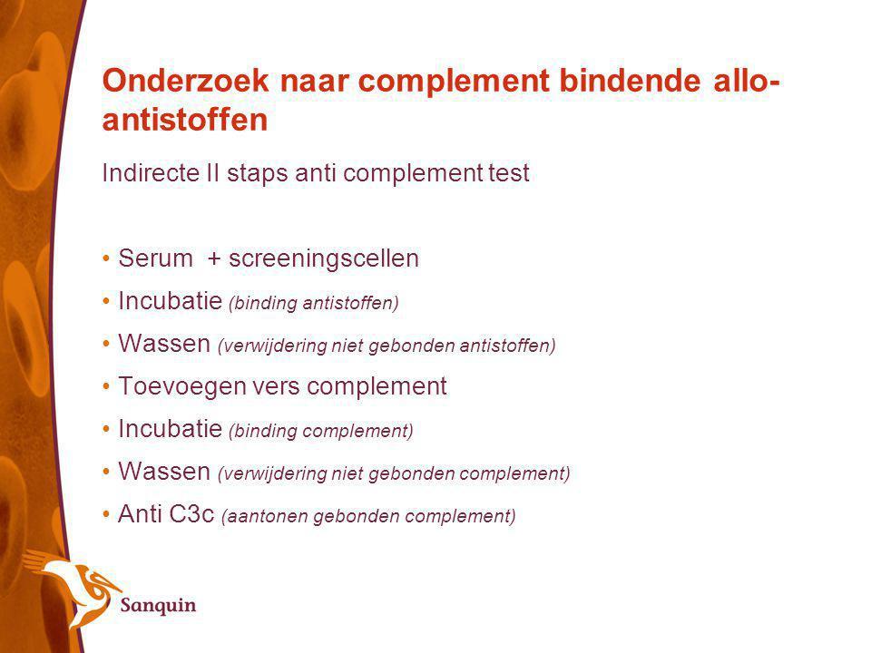 Onderzoek naar complement bindende allo-antistoffen