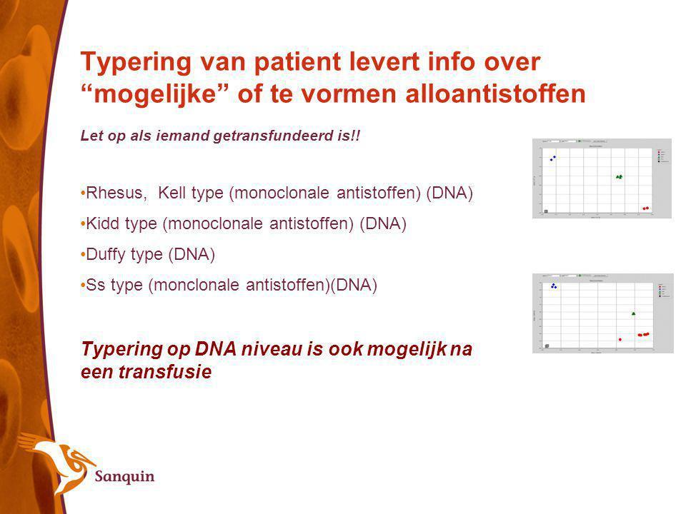 Typering van patient levert info over mogelijke of te vormen alloantistoffen