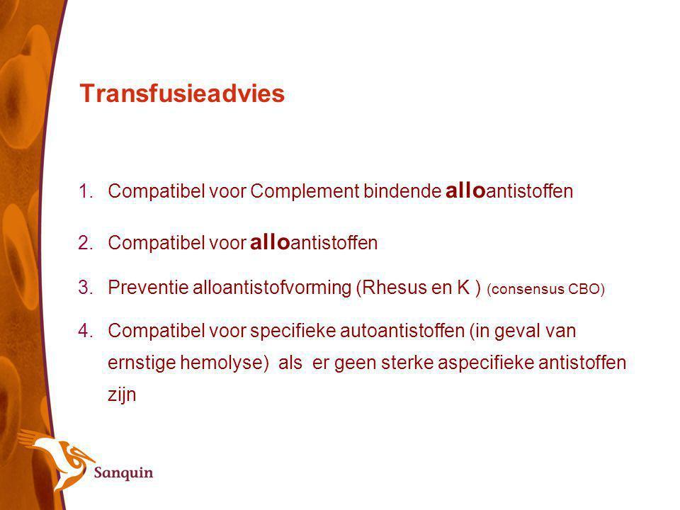 Transfusieadvies Compatibel voor Complement bindende alloantistoffen