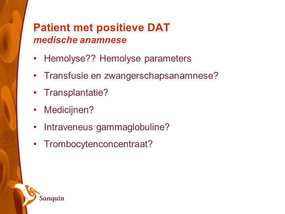 Patient met positieve DAT medische anamnese