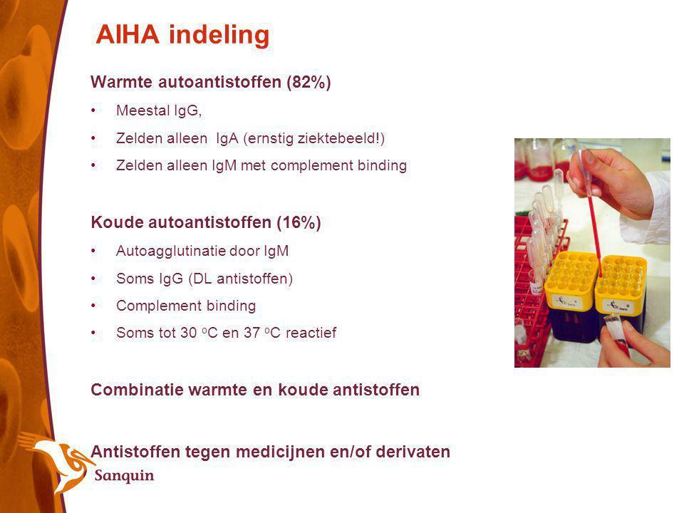 AIHA indeling Warmte autoantistoffen (82%) Koude autoantistoffen (16%)