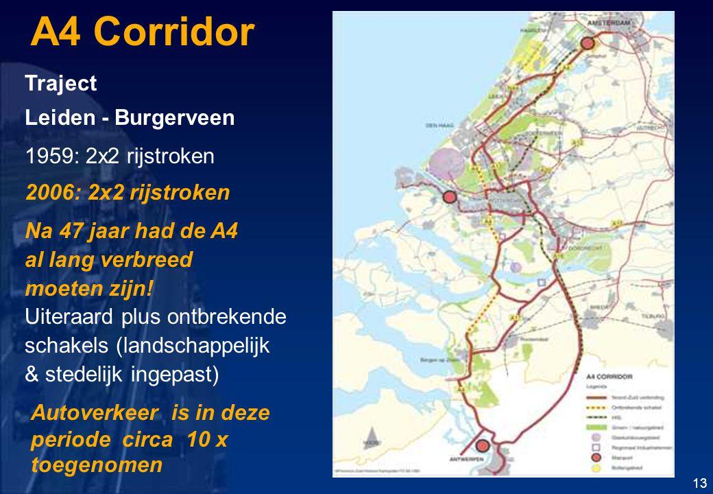 A4 Corridor Traject Leiden - Burgerveen 1959: 2x2 rijstroken