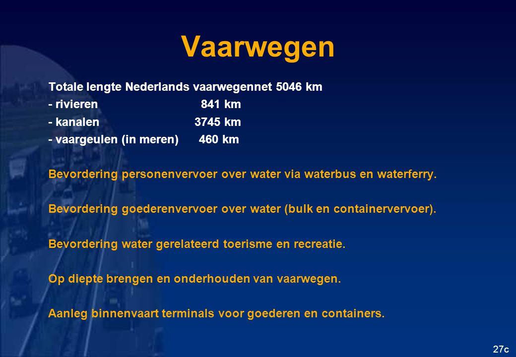Vaarwegen Totale lengte Nederlands vaarwegennet 5046 km
