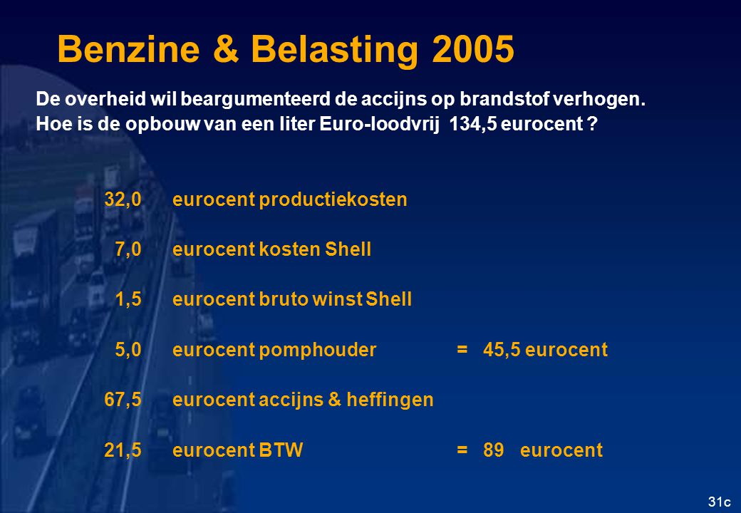 Benzine & Belasting 2005 De overheid wil beargumenteerd de accijns op brandstof verhogen.