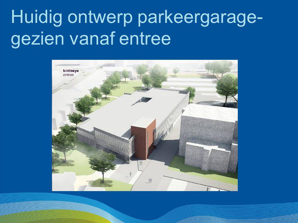 Huidig ontwerp parkeergarage- gezien vanaf entree