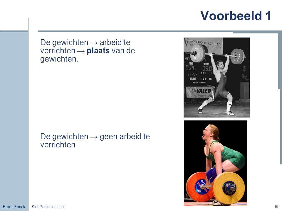 Voorbeeld 1 De gewichten → arbeid te verrichten → plaats van de gewichten. De gewichten → geen arbeid te verrichten.