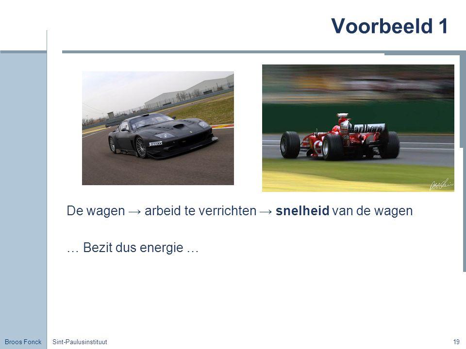 Voorbeeld 1 De wagen → arbeid te verrichten → snelheid van de wagen