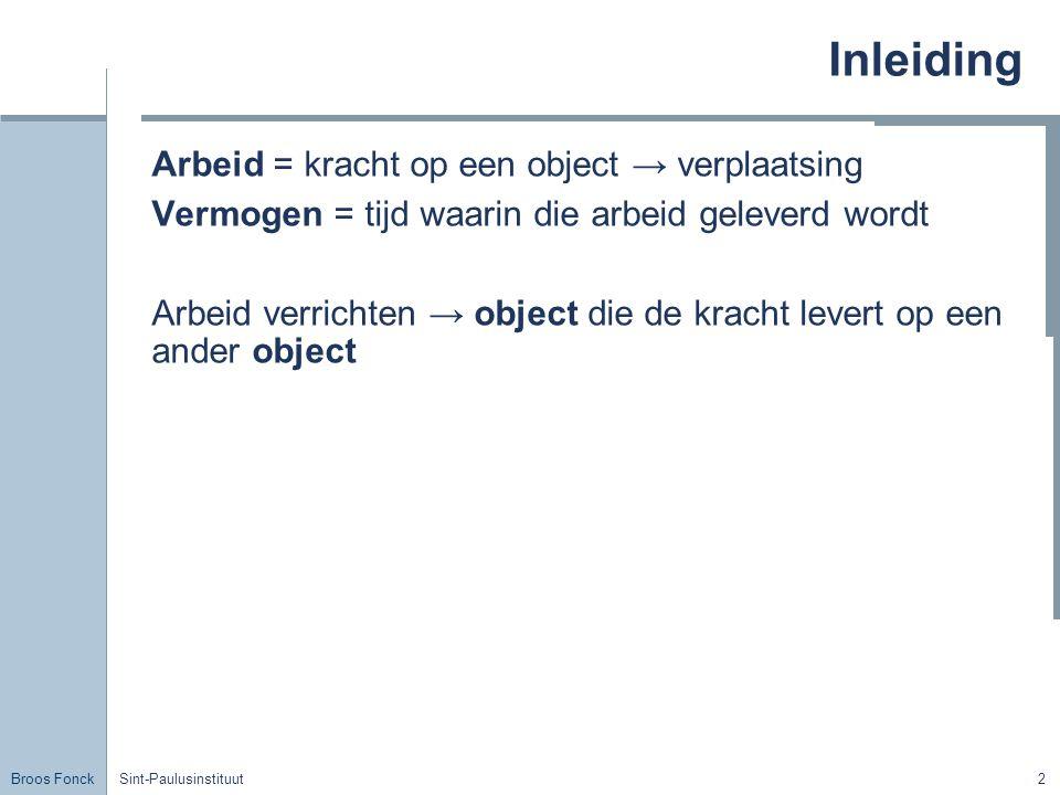 Inleiding Arbeid = kracht op een object → verplaatsing