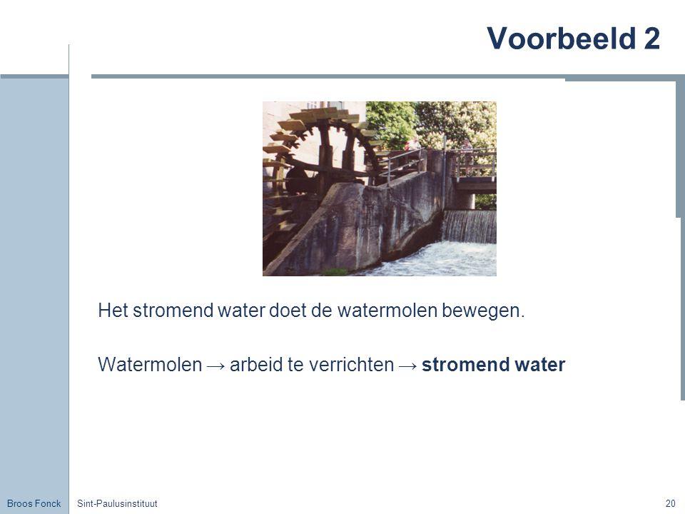 Voorbeeld 2 Het stromend water doet de watermolen bewegen.