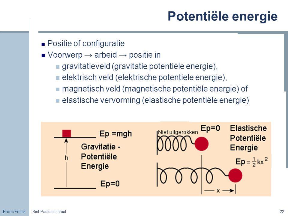 Potentiële energie Voorwerp → arbeid → positie in