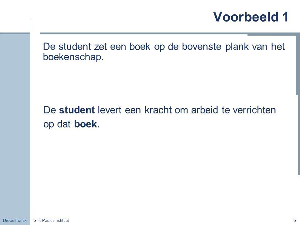 Voorbeeld 1 De student zet een boek op de bovenste plank van het boekenschap. De student levert een kracht om arbeid te verrichten.