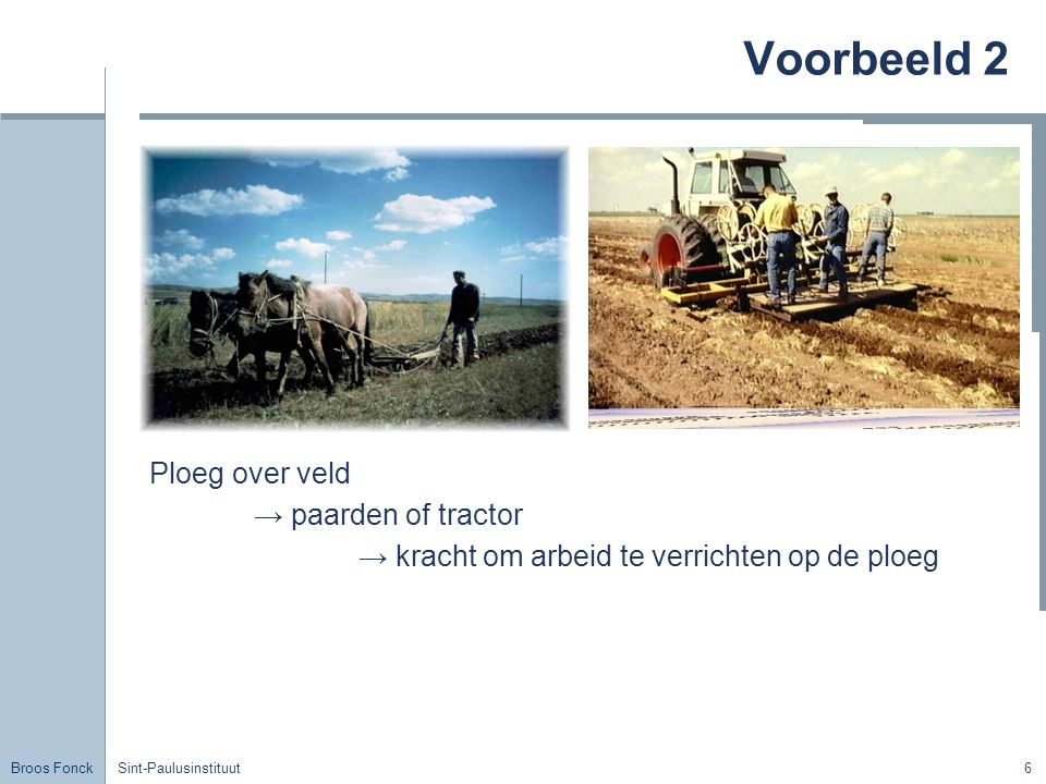 Voorbeeld 2 Ploeg over veld → paarden of tractor