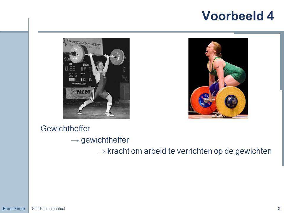 Voorbeeld 4 Gewichtheffer → gewichtheffer