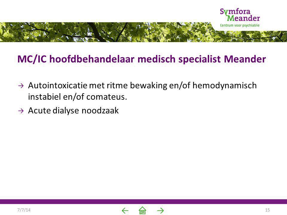 MC/IC hoofdbehandelaar medisch specialist Meander