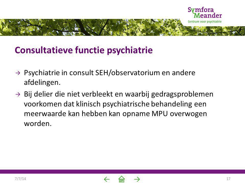 Consultatieve functie psychiatrie