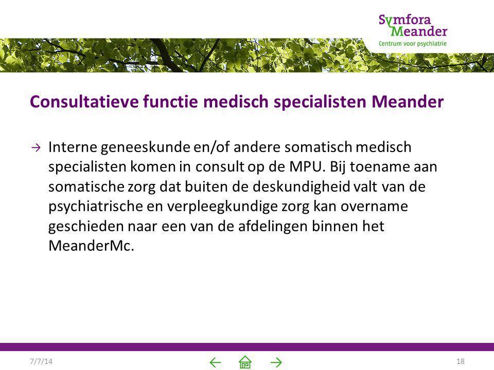 Consultatieve functie medisch specialisten Meander